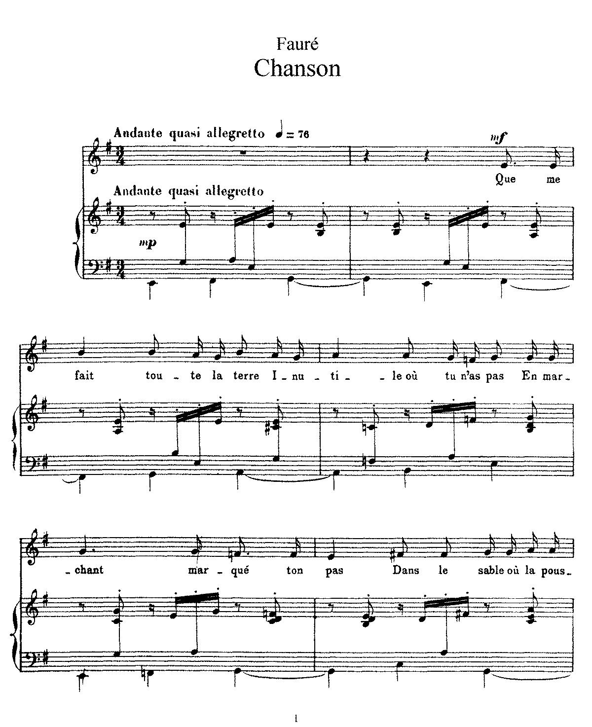 Free Sheet Music Public Domain: Chanson, Op.94 (Fauré, Gabriel)