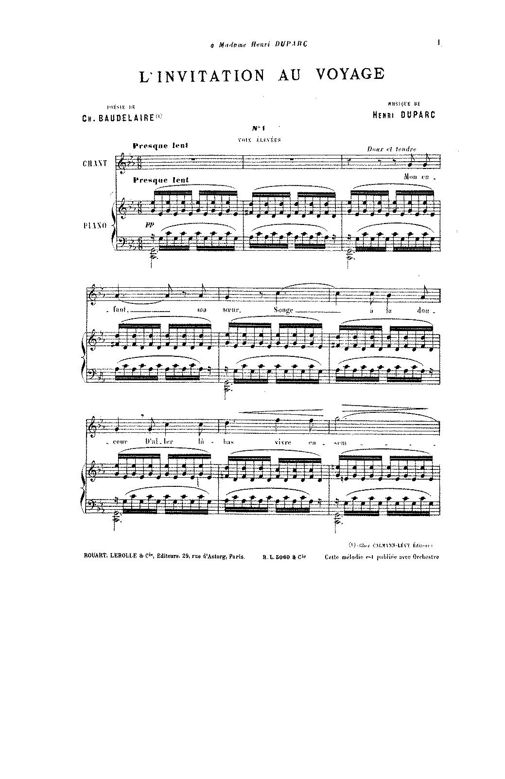 Linvitation au voyage duparc henri imslppetrucci music arrangements and transcriptions stopboris Gallery