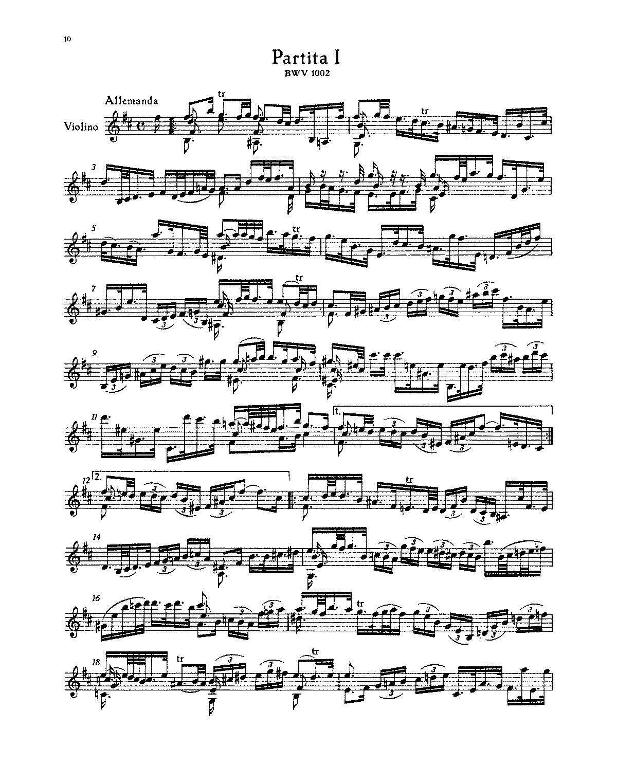 Violin Partita No.1 in B minor, BWV 1002 (Bach, Johann Sebastian ...