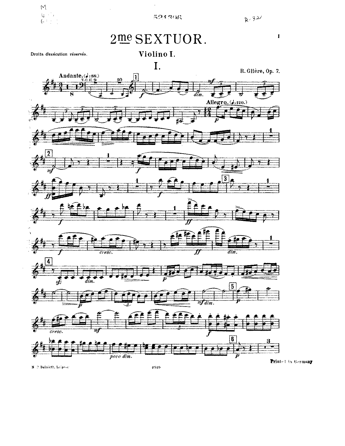 PMLP142017-Gliere - Sextet No2 in B for 2 Violins 2 Violas 2Cellos Op7 violin 1.pdf