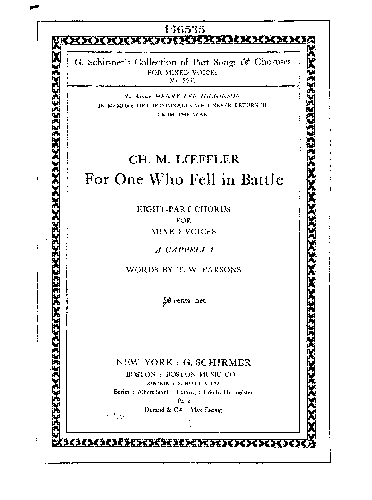 Loeffler - For One Who Fell in Battle (8-part Chorus A Cappella).pdf
