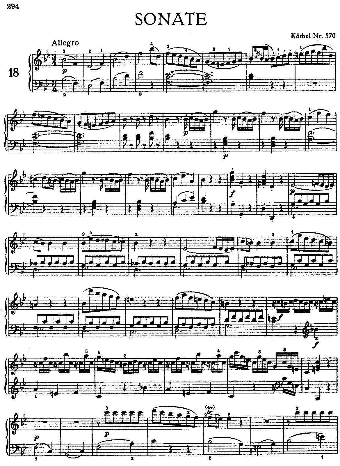 mozart sonata in b flat major k 570