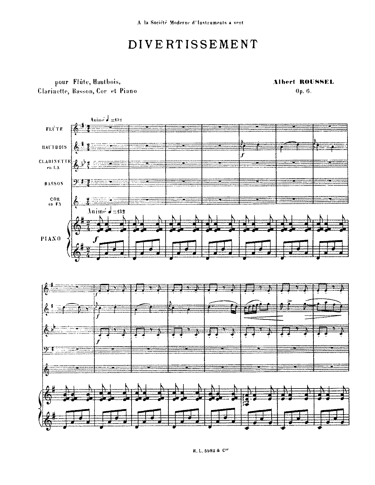 Roussel - Divertissement for Flute, Oboe, Clarinet, Bassoon, Horn & Piano Op. 6.pdf