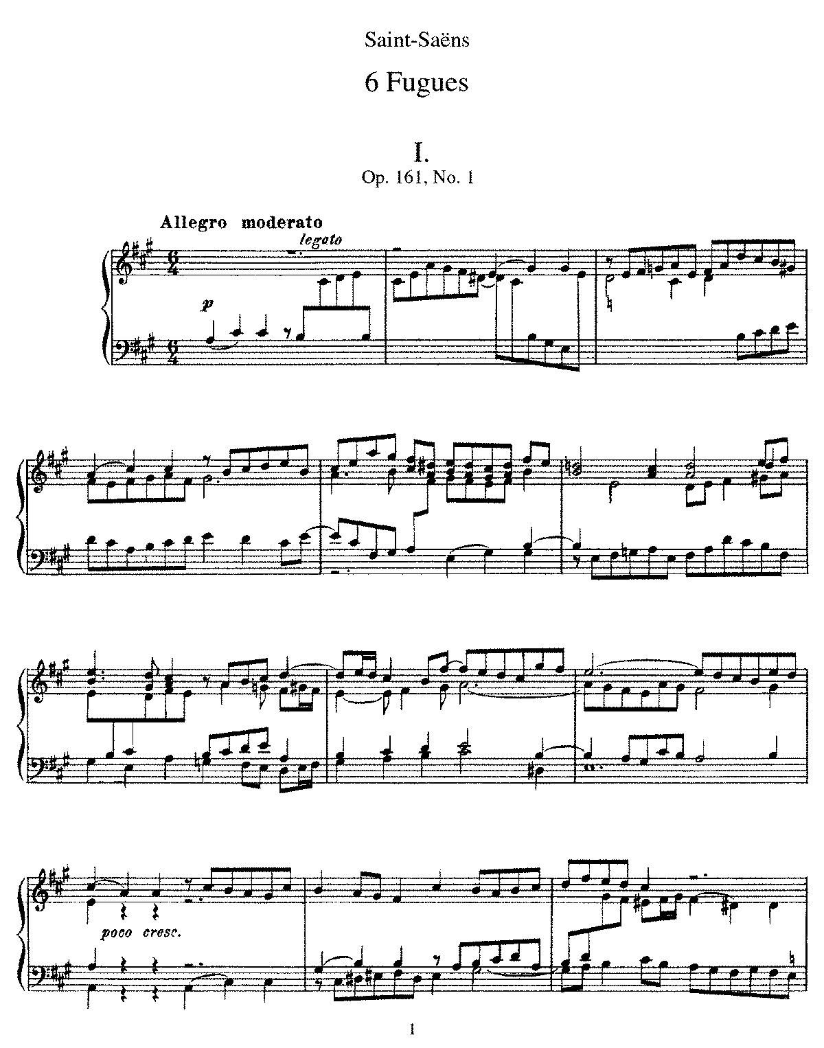 6 Fugues, Op 161 (Saint-Saëns, Camille) - IMSLP/Petrucci Music