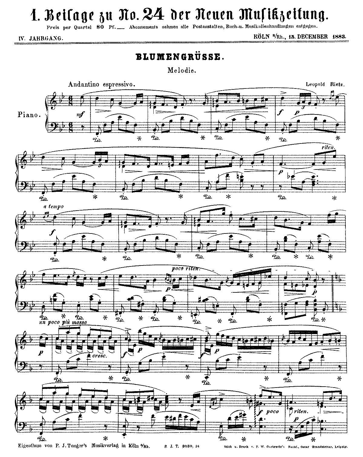 Blumengrüsse (Rietz, Leopold) - IMSLP/Petrucci Music Library: Free