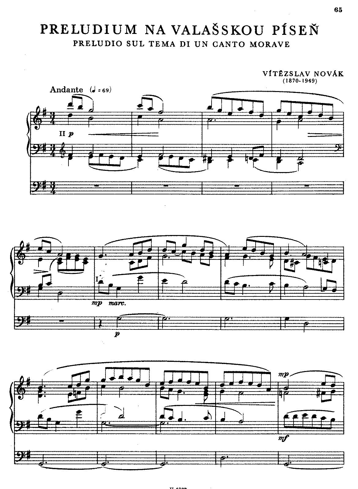 Prelude on a Moravian Folksong (Novák, Vítězslav) - IMSLP/Petrucci