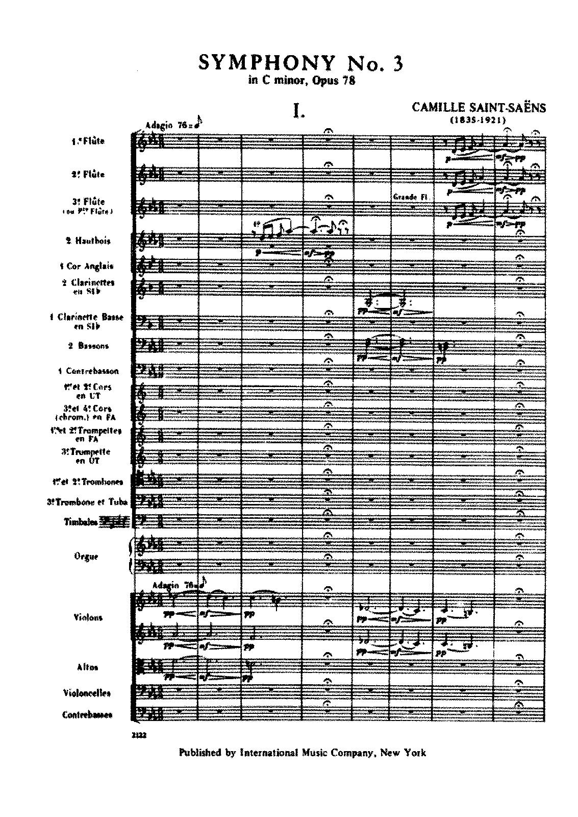 Symphony No 3, Op 78 (Saint-Saëns, Camille) - IMSLP/Petrucci Music