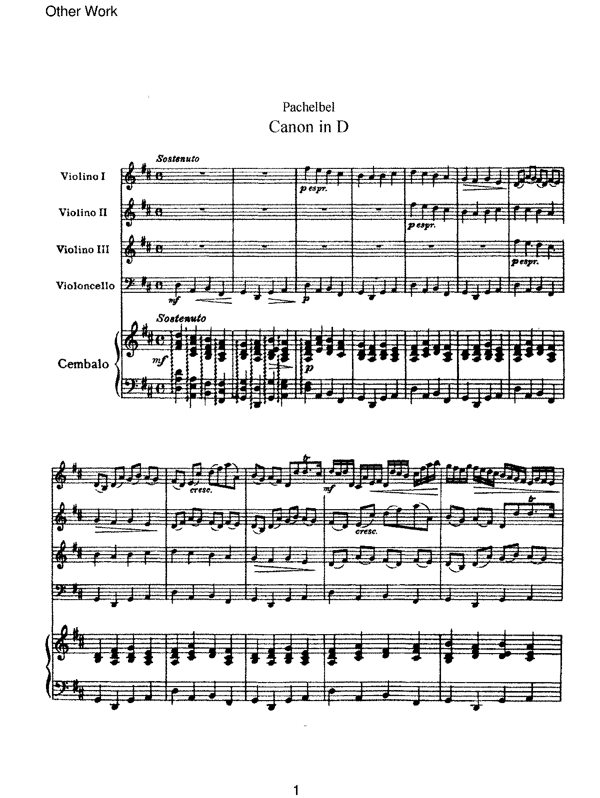 photograph regarding Canon in D Piano Sheet Music Free Printable named Canon and Gigue within just D main, P.37 (Pachelbel, Johann) - IMSLP