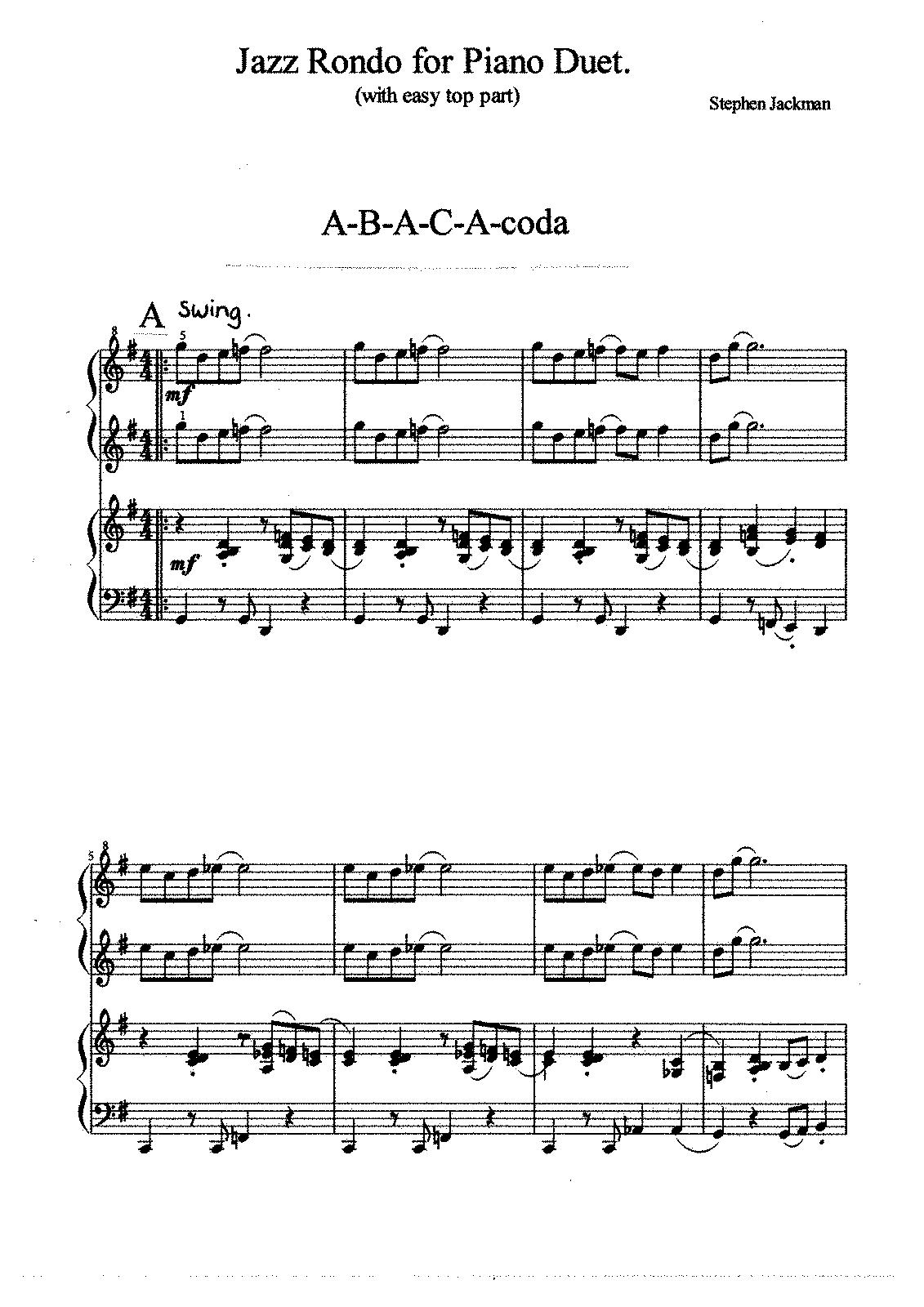 Jazz Rondos (Jackman, Stephen) - IMSLP/Petrucci Music