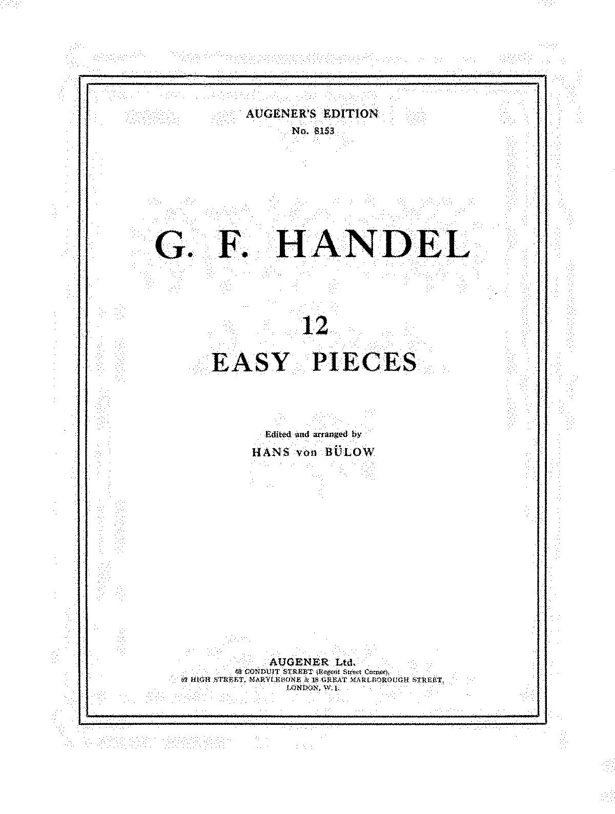 12 Easy Pieces (Handel, George Frideric) - IMSLP/Petrucci Music ...