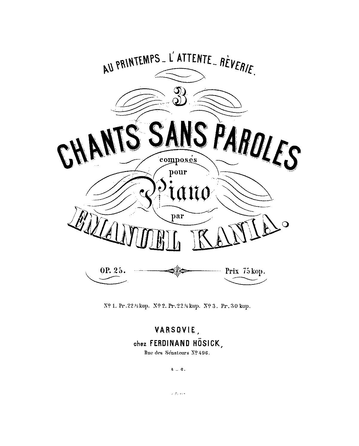 3 Chants Sans Paroles Op25 Kania Emanuel Imslppetrucci Music