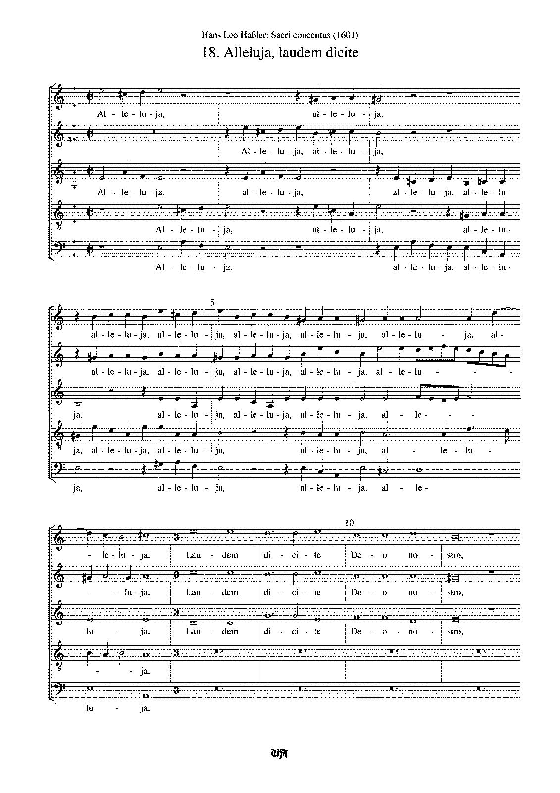 Alleluja, laudem dicite (Hassler, Hans Leo) - IMSLP/Petrucci Music ...