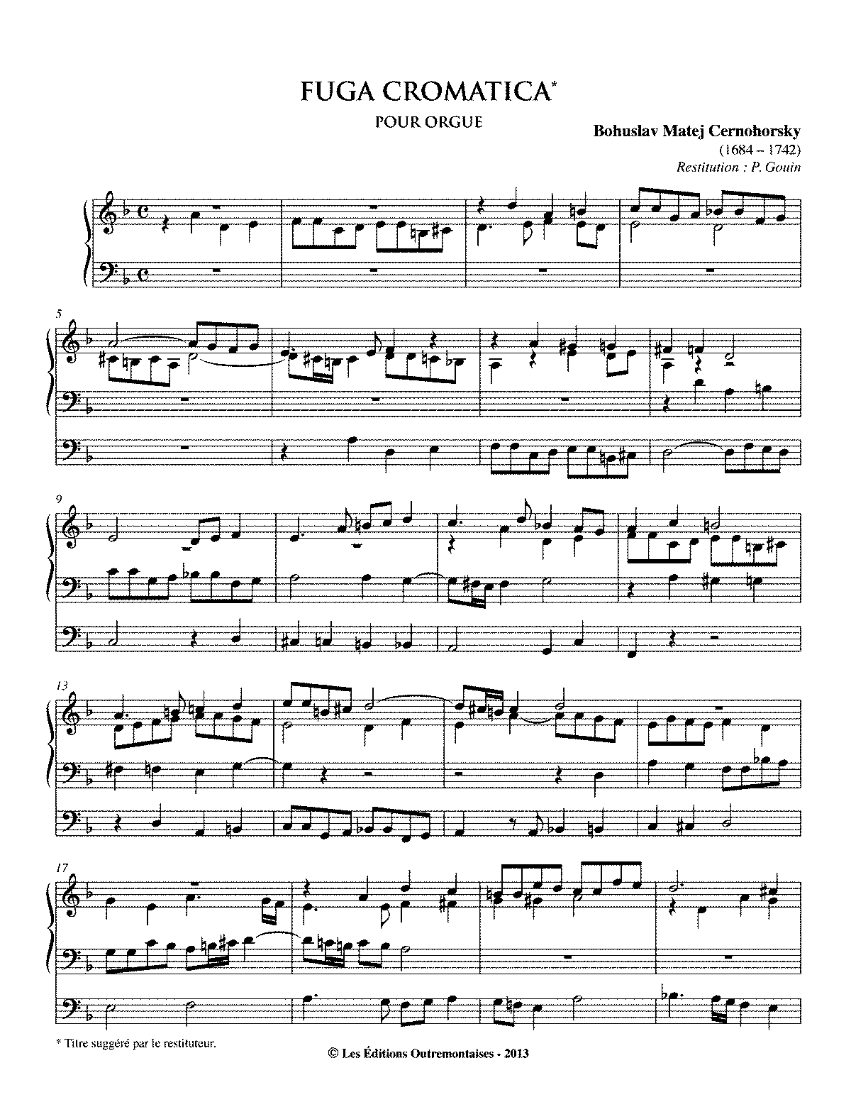 Fuga Cromatica in D minor, MAB 3.2 (Černohorský, Bohuslav Matěj ...