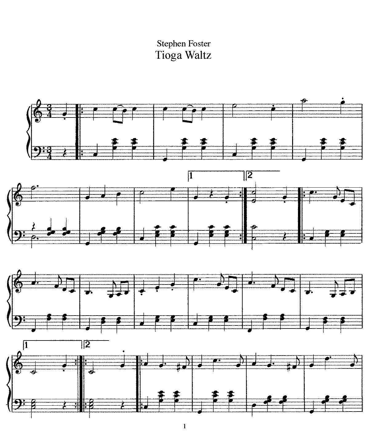 Tioga Waltz (Foster, Stephen) - IMSLP/Petrucci Music Library: Free