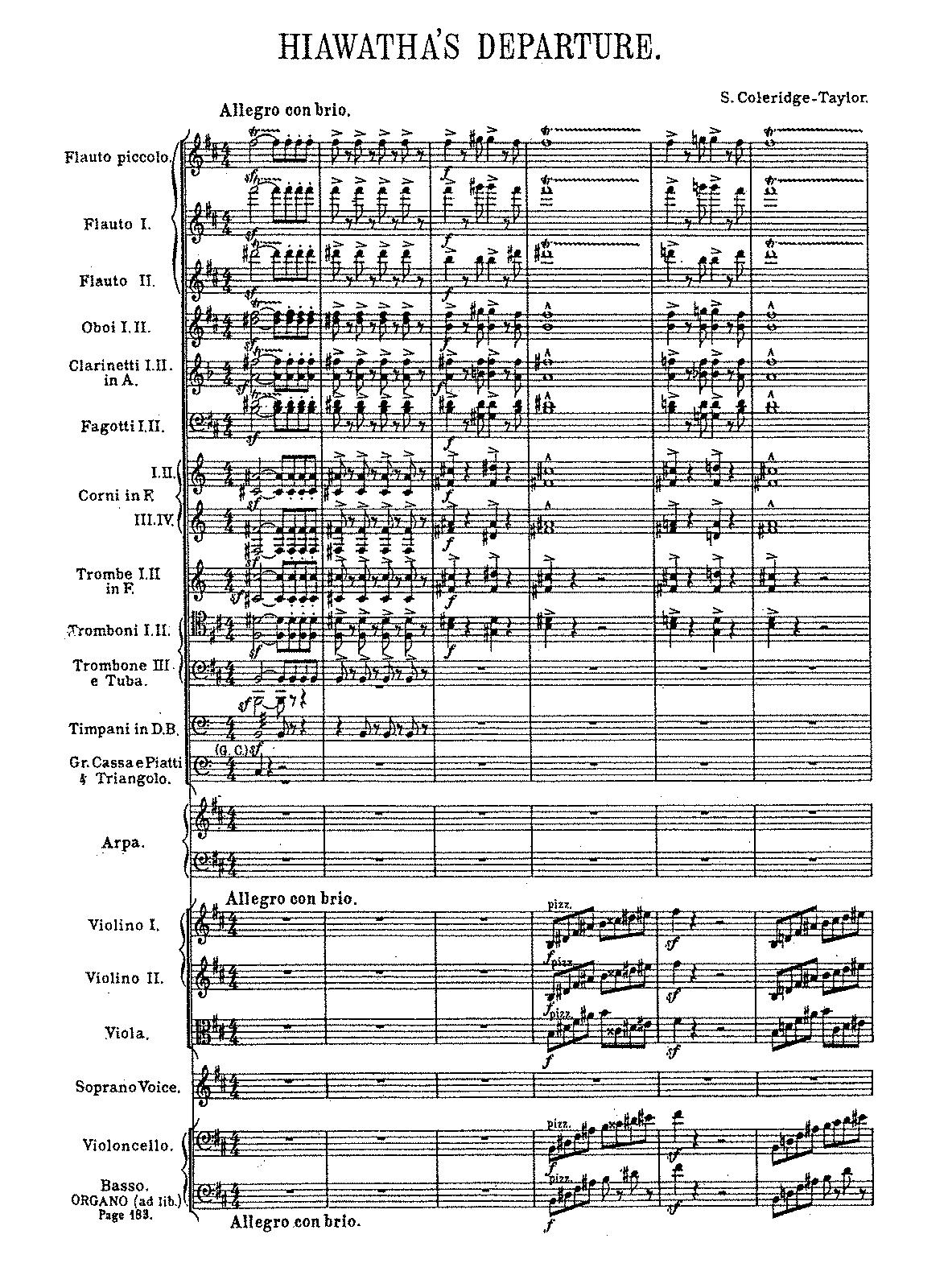 the song of hiawatha op coleridge taylor samuel  scoresparts 87