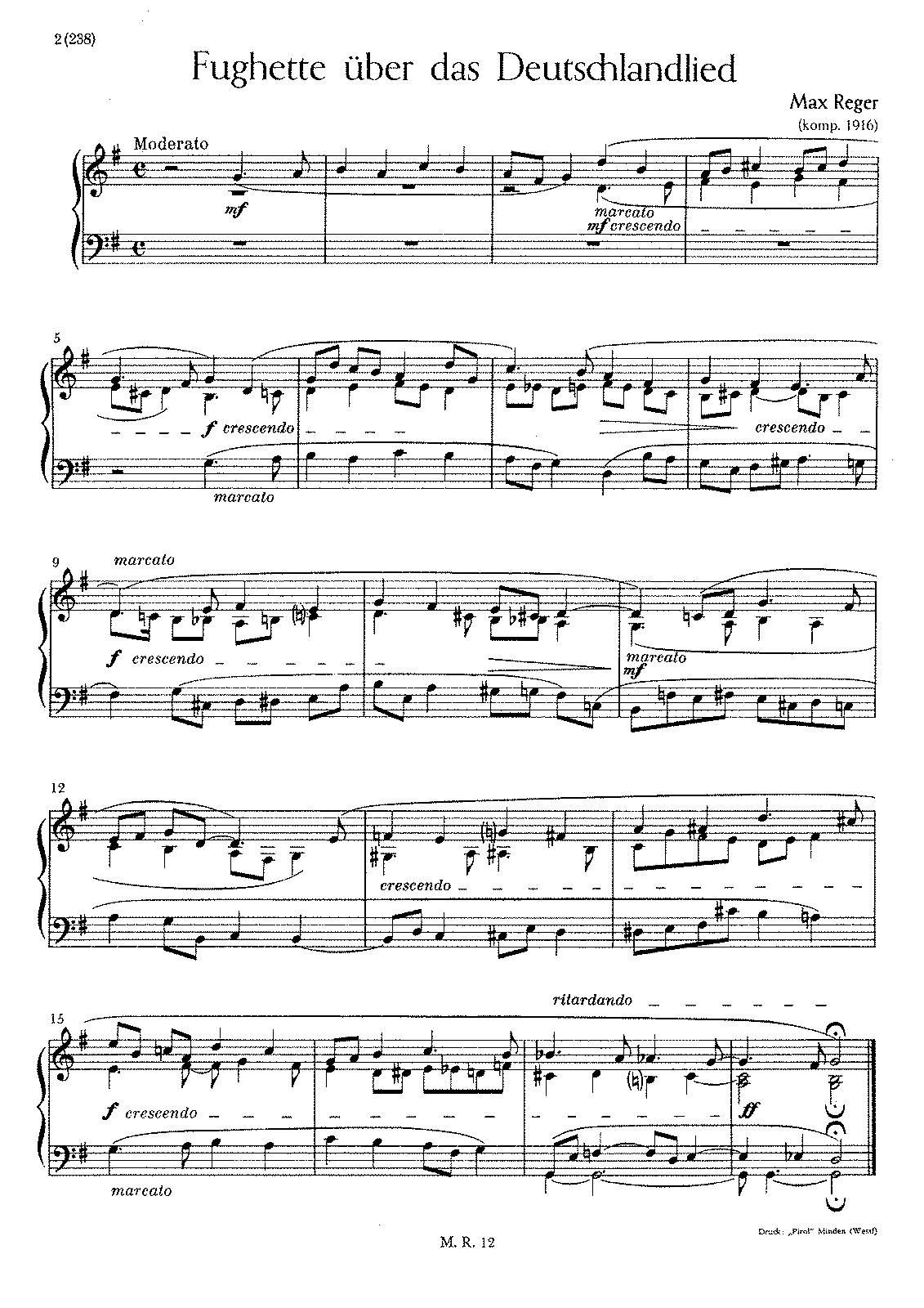 Fughette über das Deutschlandlied, WoO III/24 (Reger, Max ...