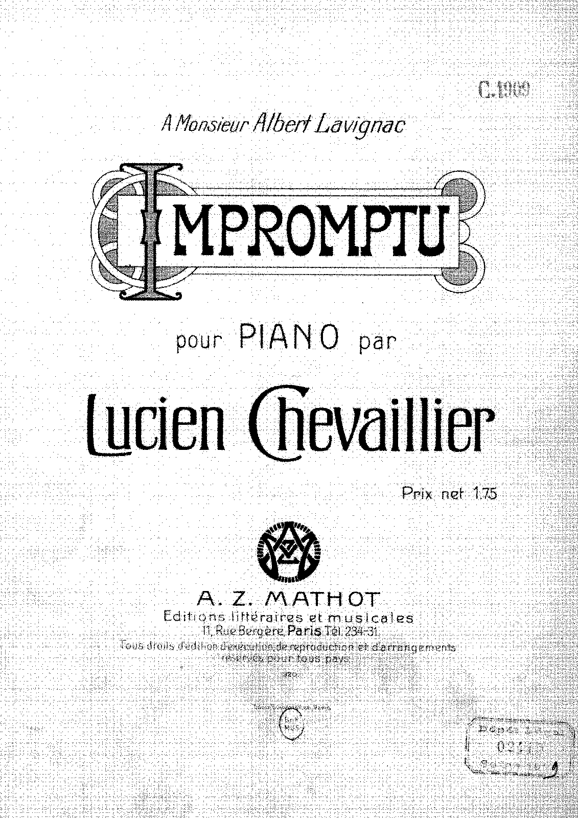 Impromptu (Chevaillier, Lucien) - IMSLP/Petrucci Music Library: Free