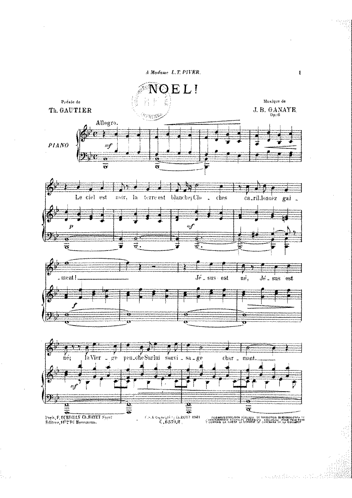 Noël!, Op 6 (Ganaye, Jean-Baptiste) - IMSLP/Petrucci Music