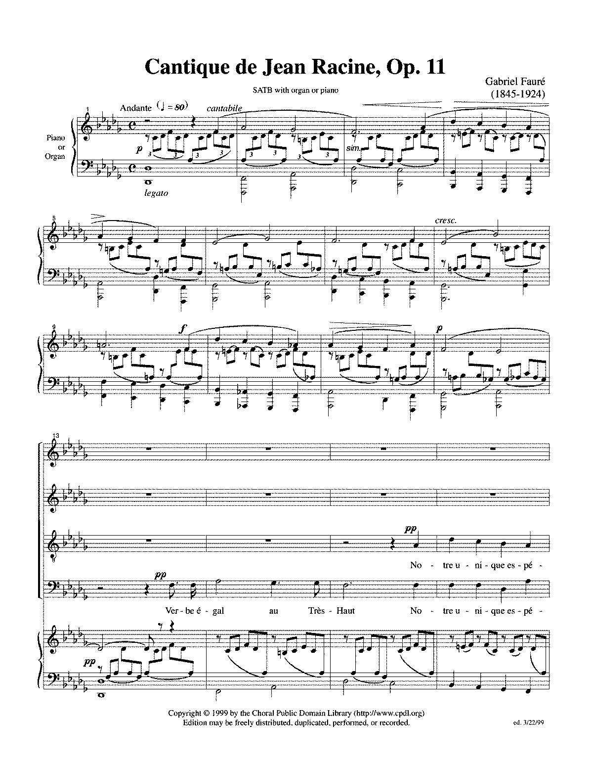 Cantique de Jean Racine, Op 11 (Fauré, Gabriel) - IMSLP/Petrucci