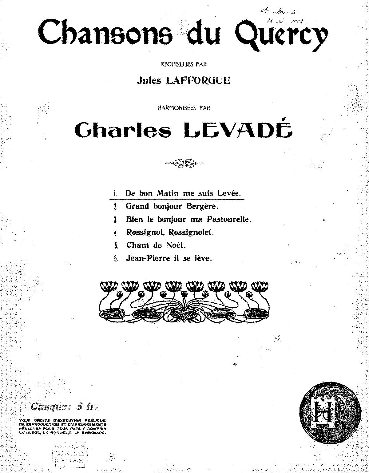 Chansons Du Quercy Levadé Charles Imslppetrucci Music