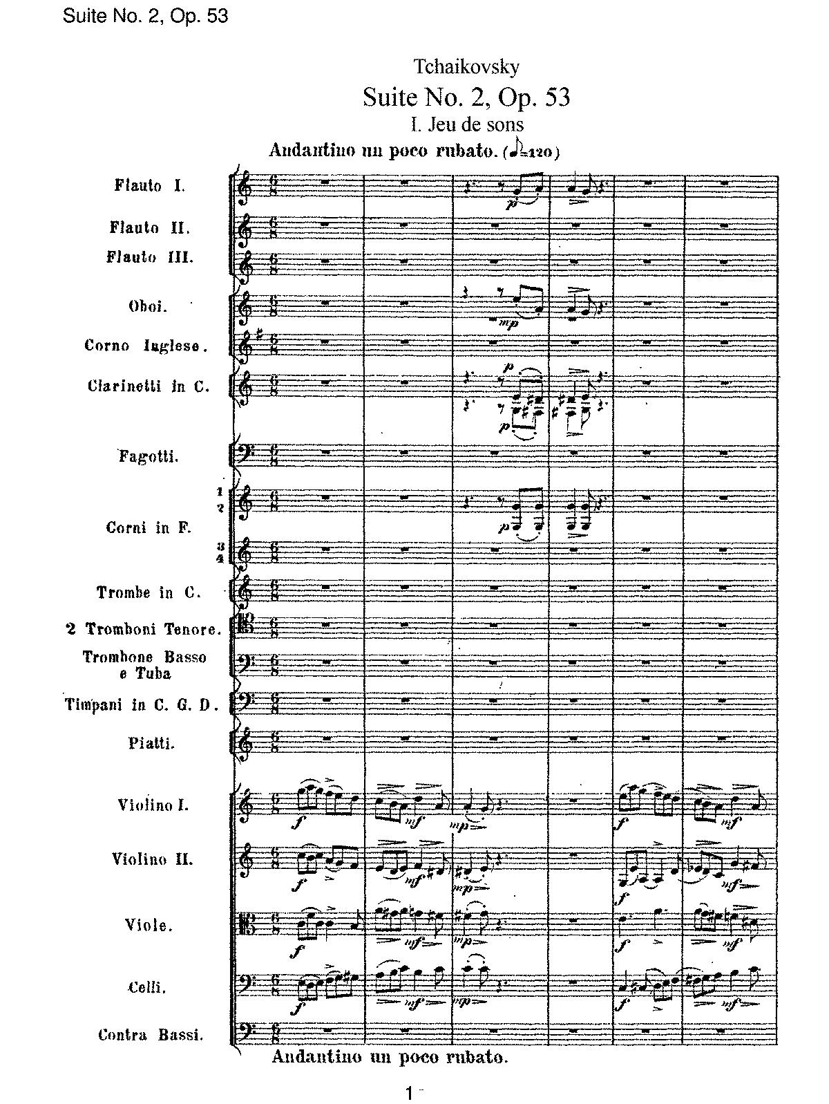 Suite No 2, Op 53 (Tchaikovsky, Pyotr) - IMSLP/Petrucci Music
