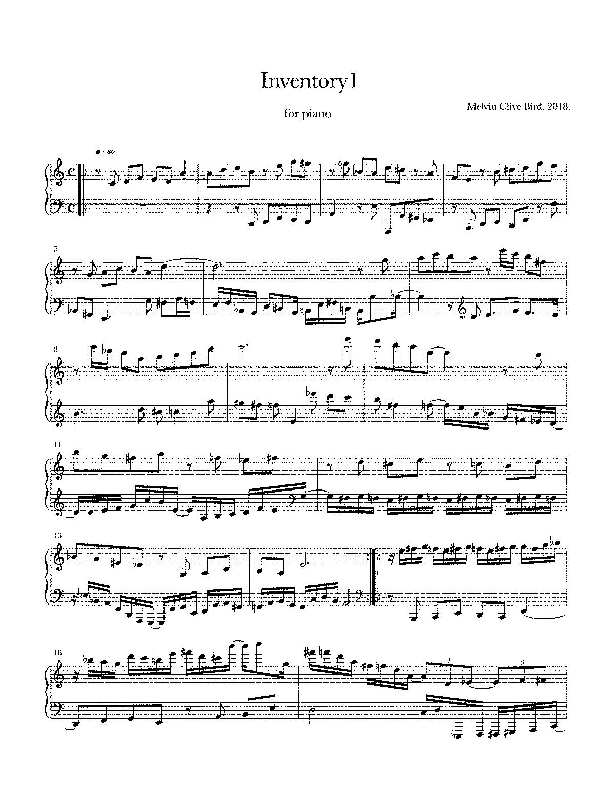 Inventory I (Bird, Melvin Clive) - IMSLP/Petrucci Music
