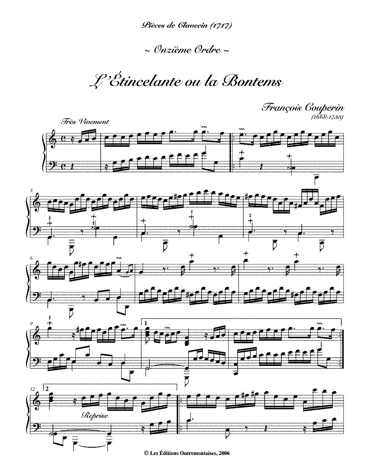 Pièces de clavecin 12th ordre, L Atalante - Harpsichord