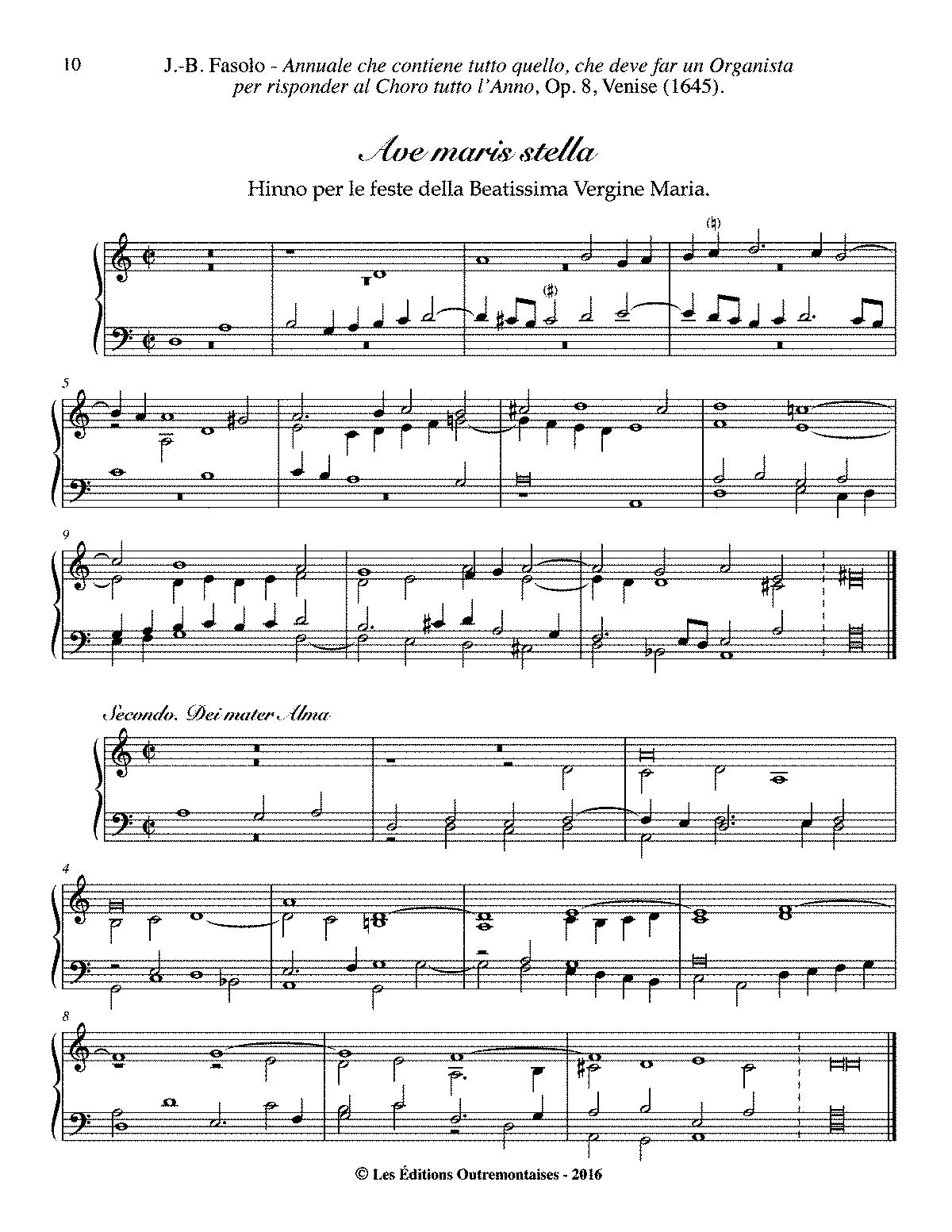 Ave maris stella, Op 8 No 3 (Fasolo, Giovanni Battista