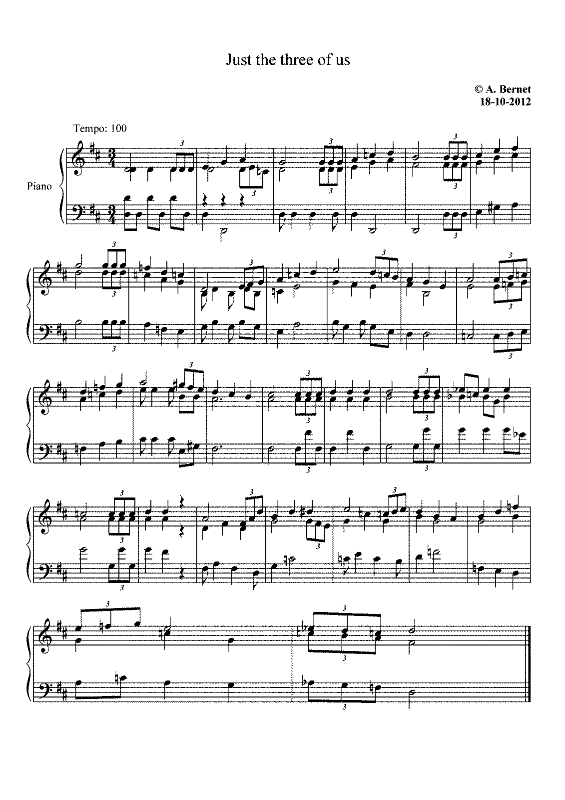 Just the Three of Us (Bernet, Atie) - IMSLP/Petrucci Music Library