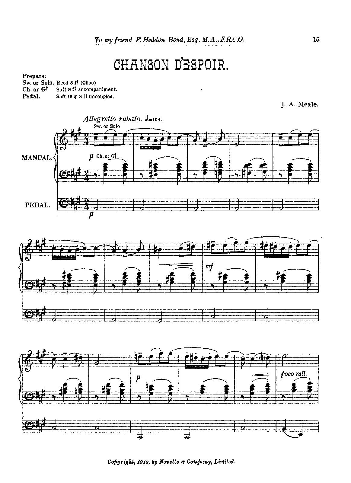 Chanson d'espoir (Meale, John Arthur) - IMSLP/Petrucci Music Library