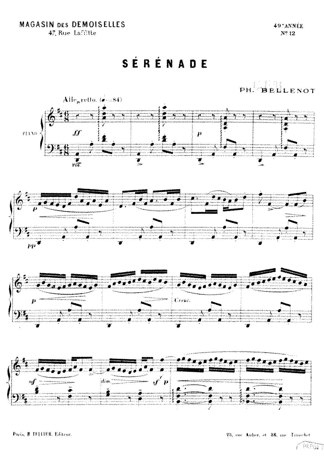 Sérénade (Bellenot, Philippe) - IMSLP/Petrucci Music Library: Free