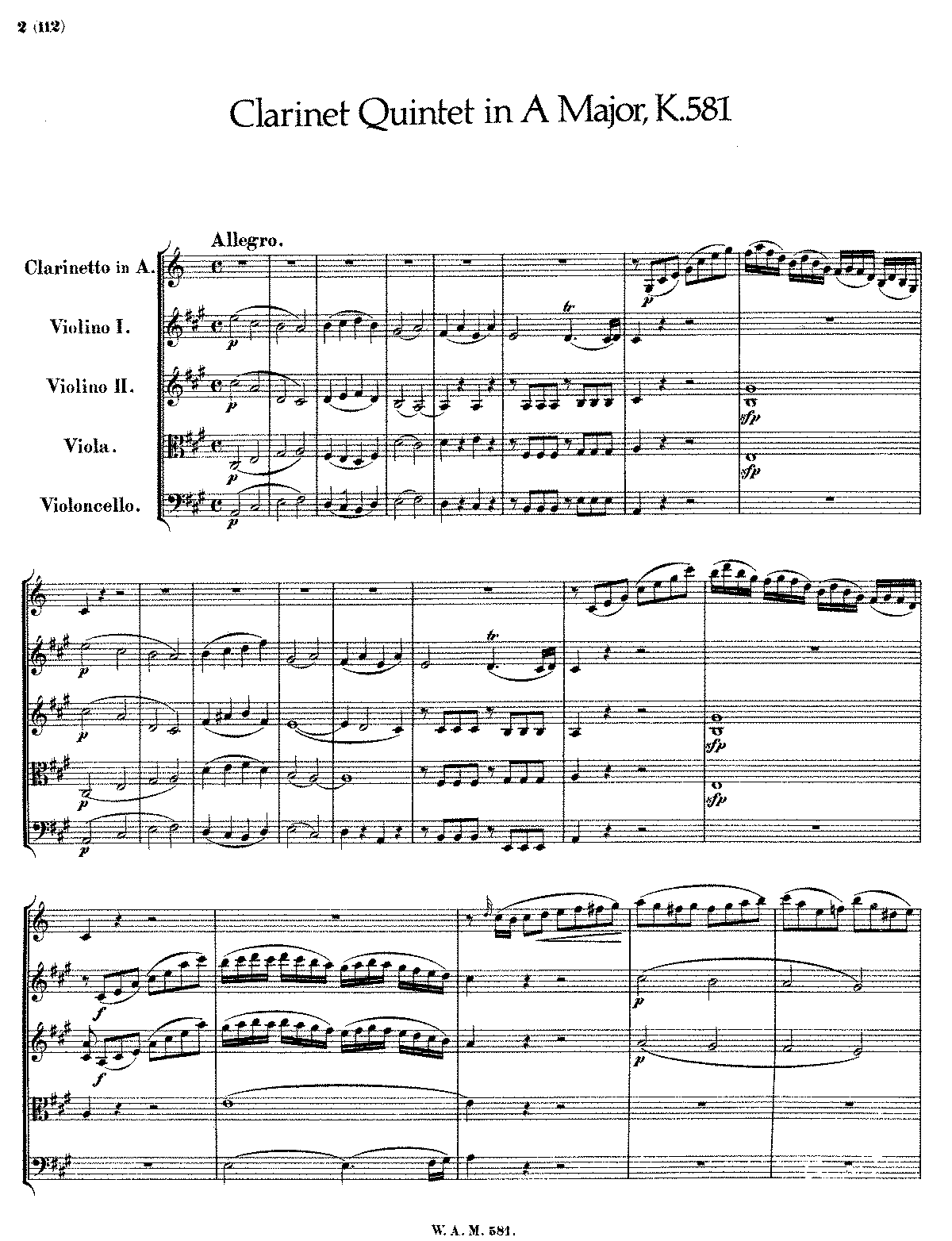 clarinet quintet in a major k 581 mozart wolfgang amadeus