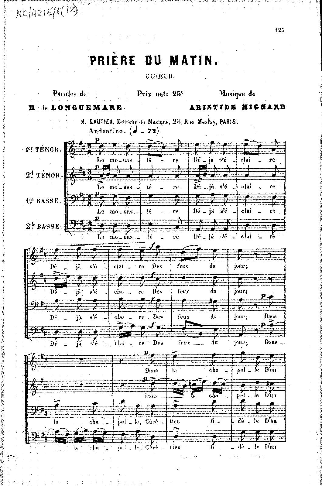 Prière du matin (Hignard, Aristide) - IMSLP/Petrucci Music Library