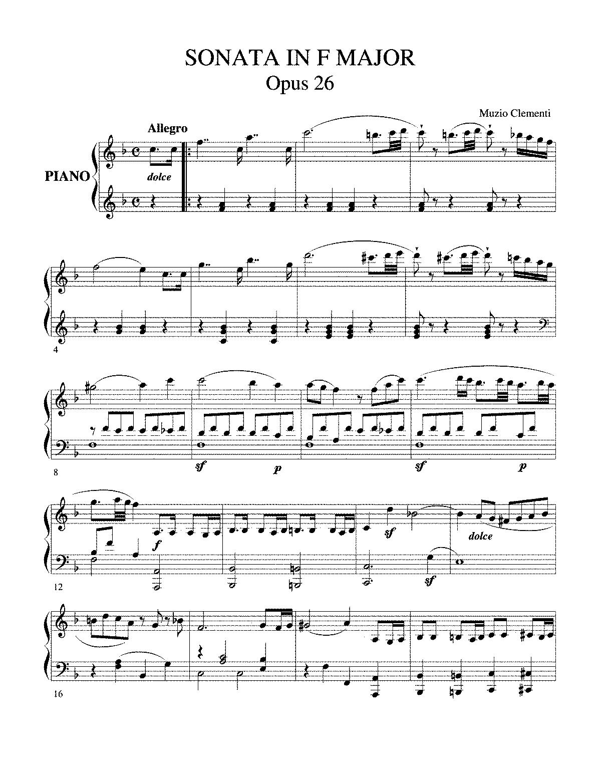 piano sonata  op 26  clementi  muzio   petrucci