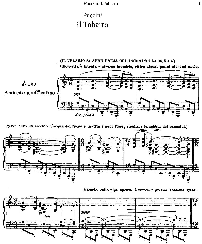 Free Sheet Music Public Domain: Il Tabarro, SC 85 (Puccini, Giacomo)