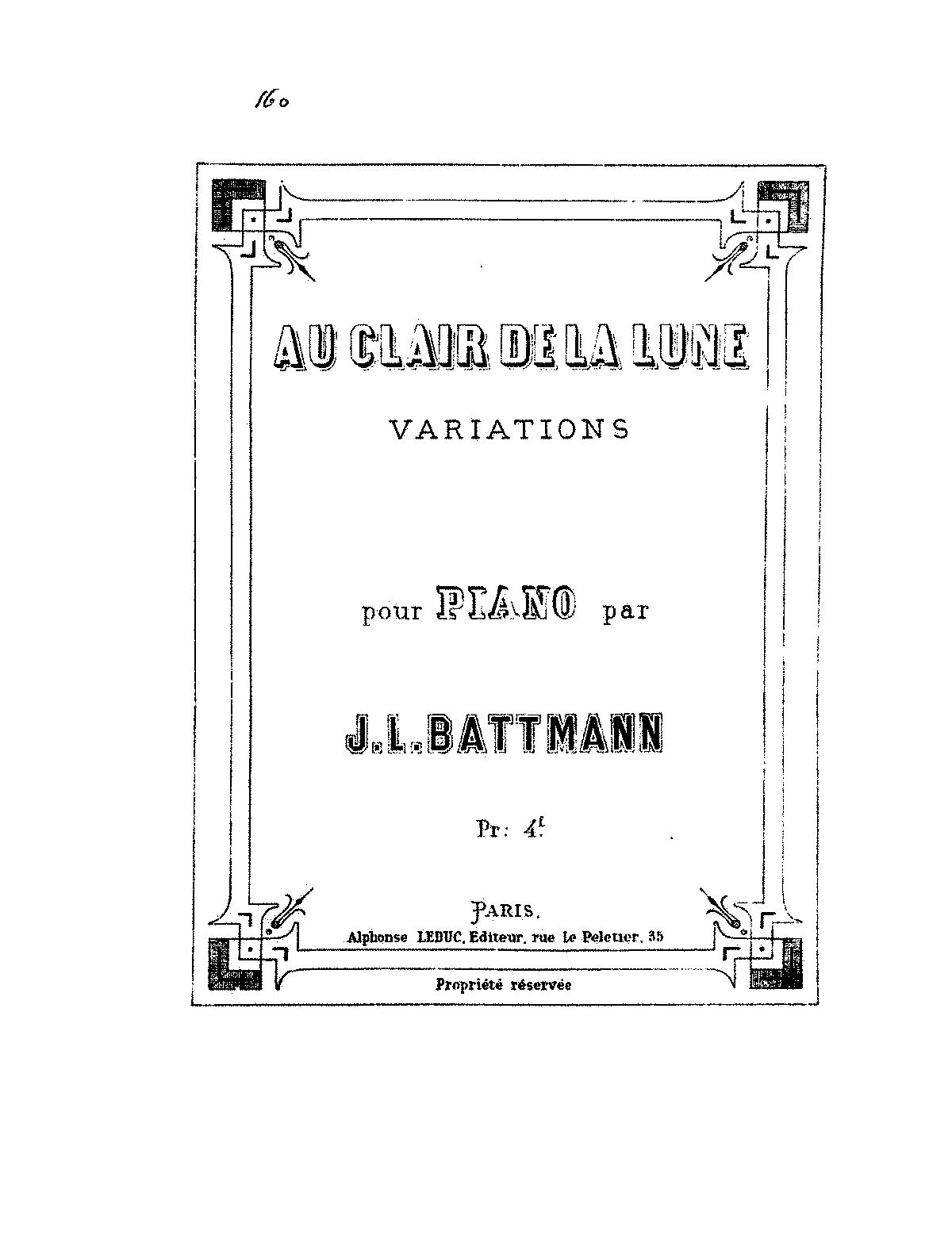 Au clair de la lune (Battmann, Jacques-Louis) - IMSLP/Petrucci Music