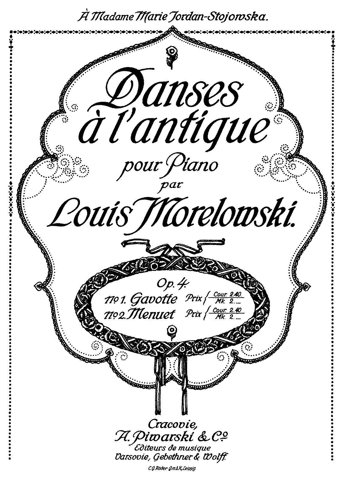 Danses à l'antique, Op 4 (Morelowski, Ludwik) - IMSLP/Petrucci Music