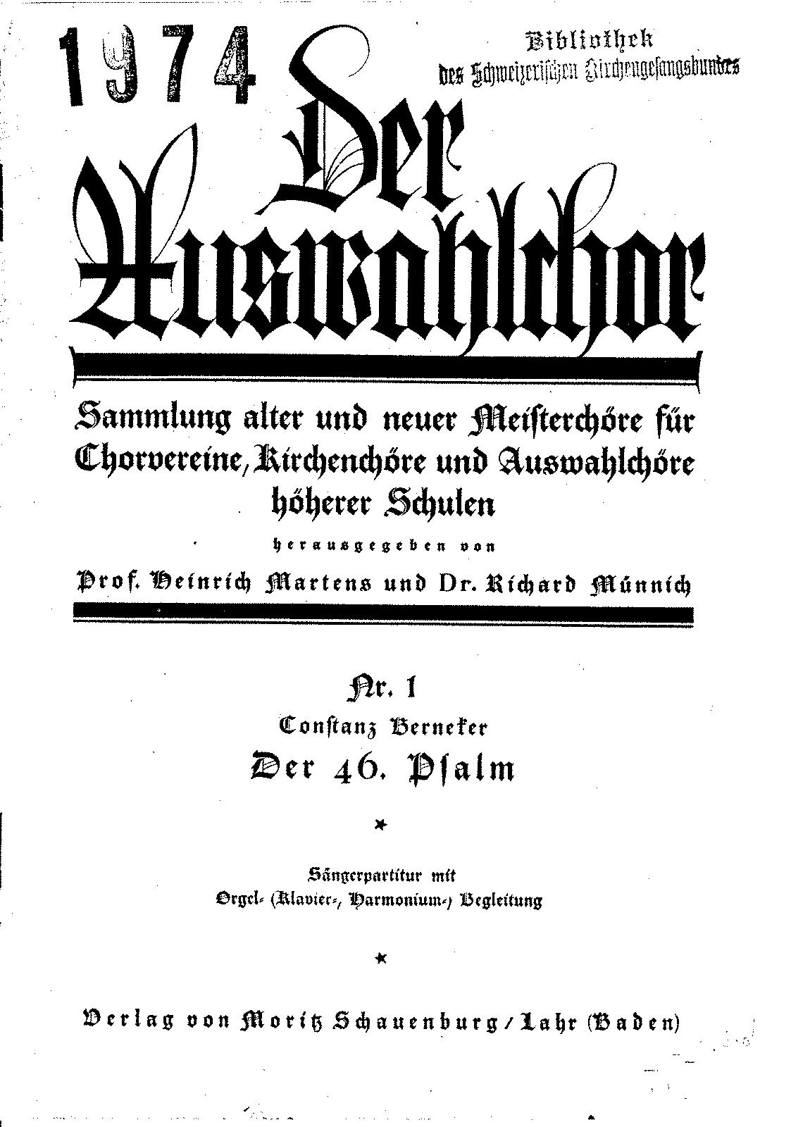 Der 46  Psalm (Berneker, Constanz) - IMSLP/Petrucci Music Library