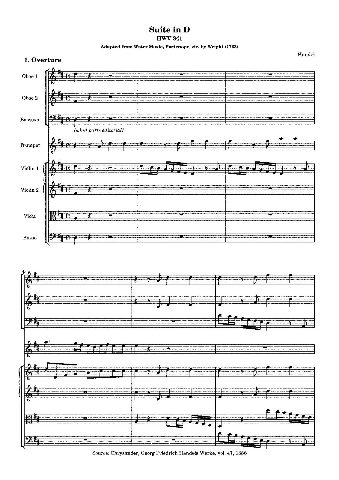 Suite in D major, HWV 341 (Handel, George Frideric) - IMSLP/Petrucci ...