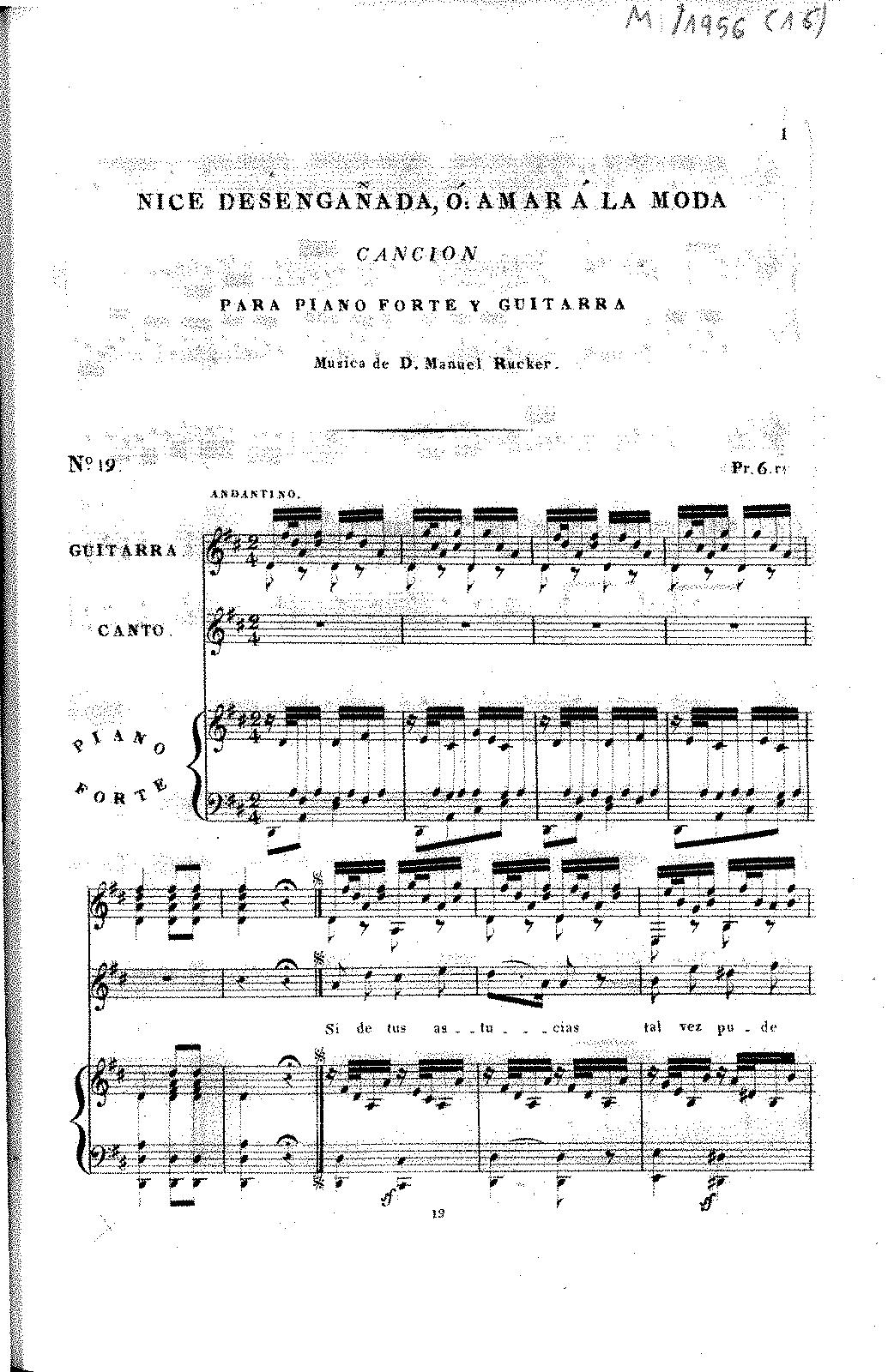 Nice desengañada (Rücker, Manuel) - IMSLP/Petrucci Music