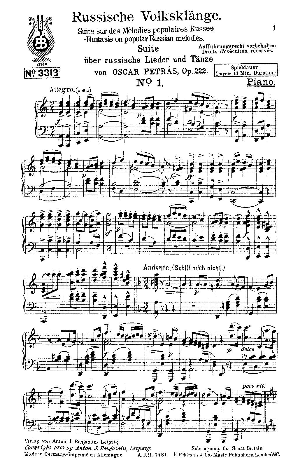 Russische Volksklänge, Op 222 (Fetrás, Oscar) - IMSLP/Petrucci Music