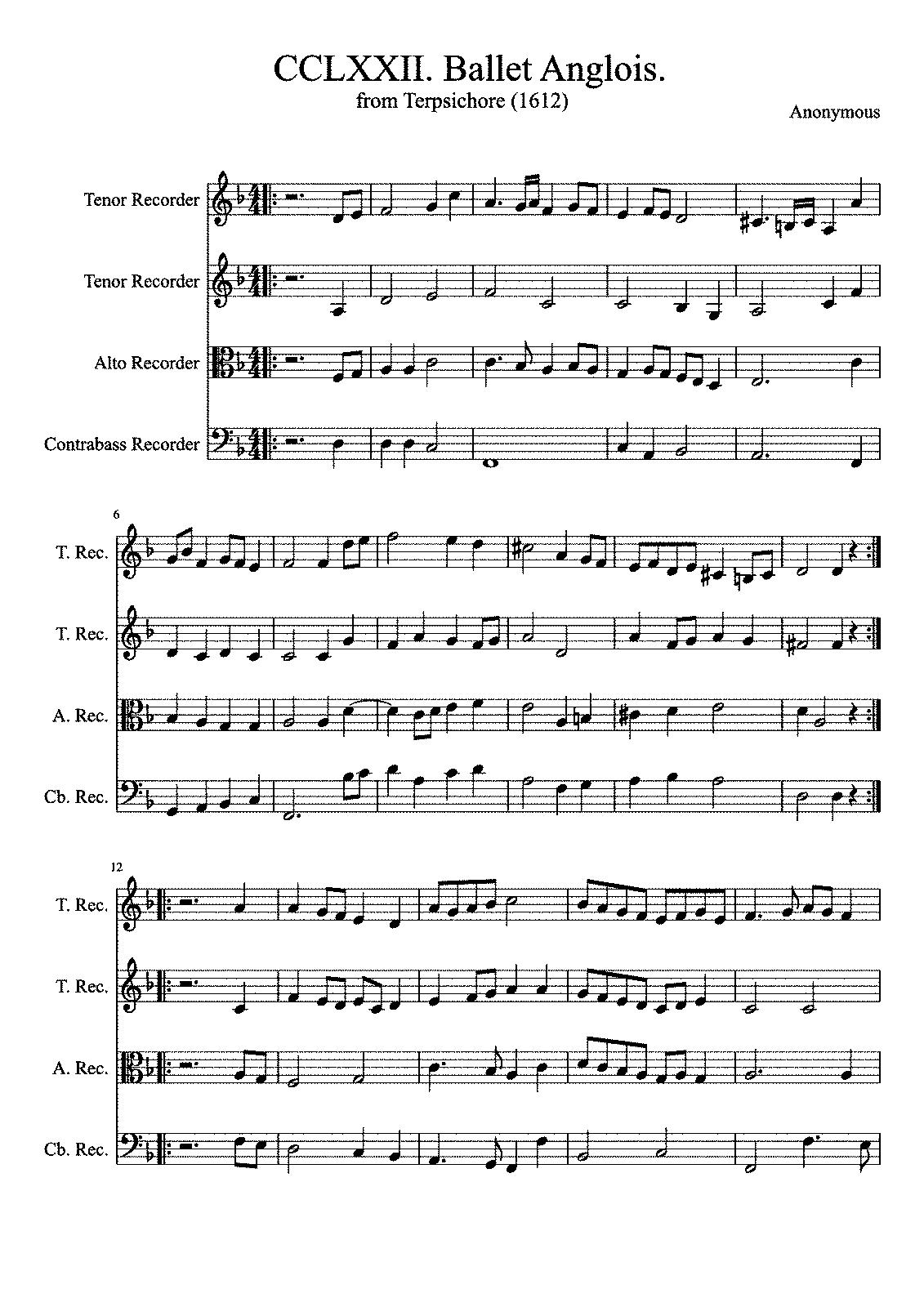 Anglois ballet anglois, tma 272 (praetorius, michael) - imslp: free