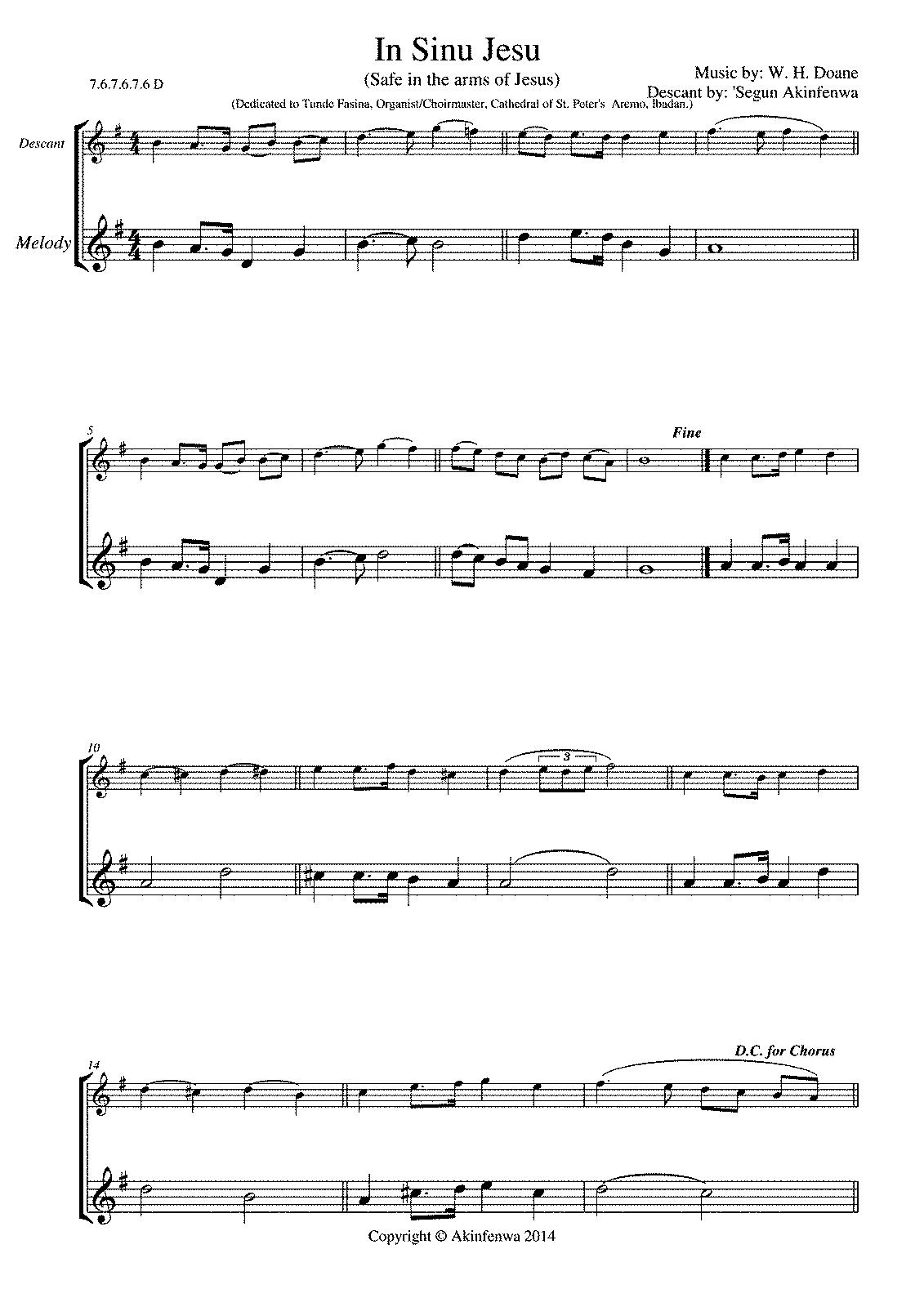 In Sinu Jesu Descant (Akinfenwa, Segun) - IMSLP/Petrucci Music