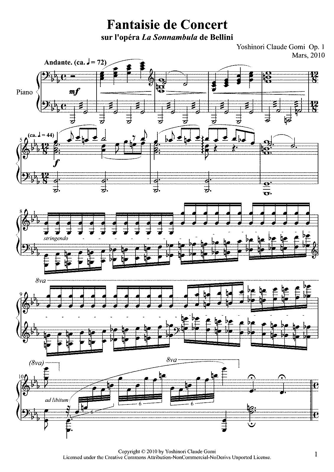 Fantaisie de Concert sur l'opéra 'La Sonnambula', Op 1 (Gomi