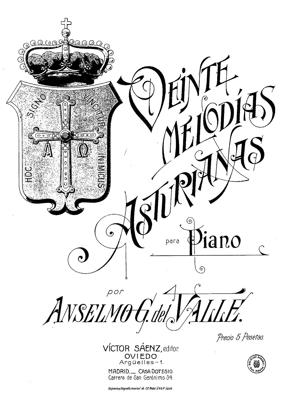 20 Melodías asturianas (González del Valle, Anselmo) - IMSLP