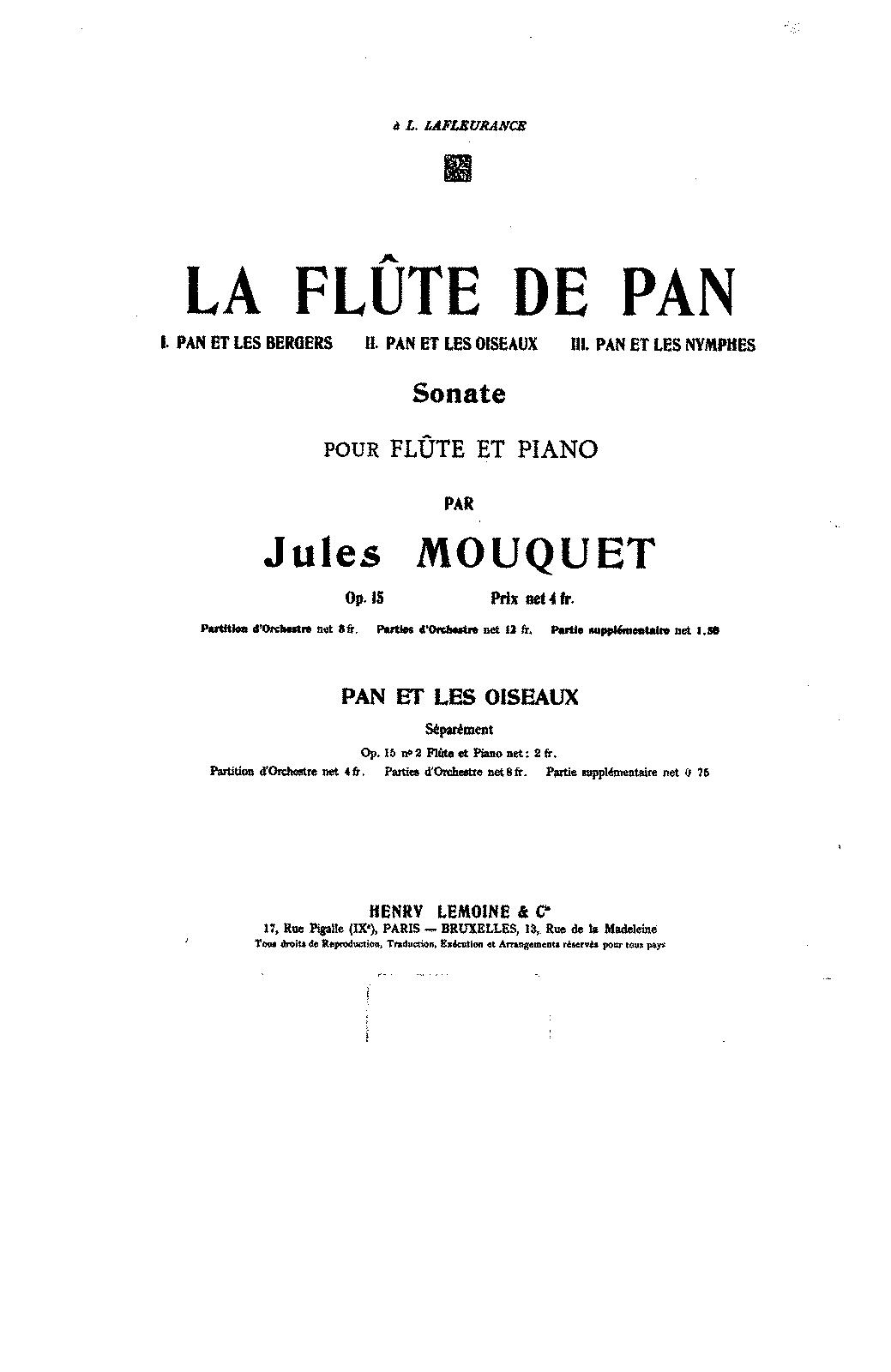 La flûte de Pan, Op.15 (Mouquet, Jules) - IMSLP/Petrucci ...