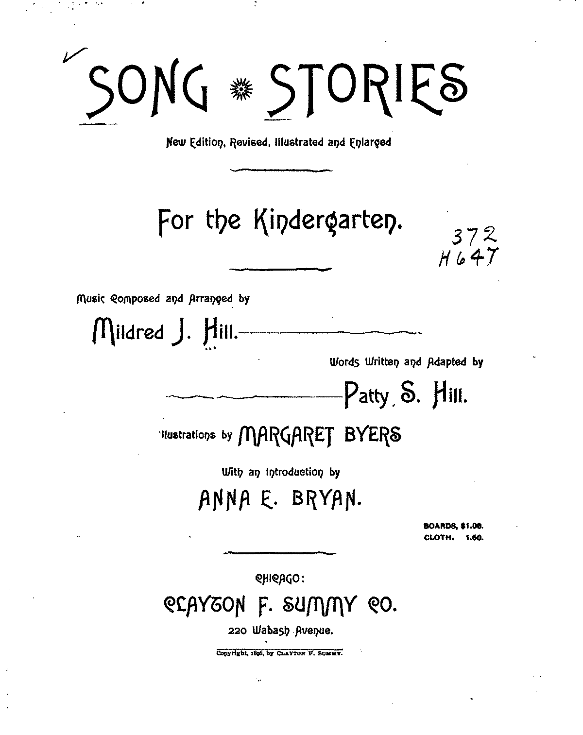 Worksheets Kindergarten Music Worksheets song stories for the kindergarten hill mildred imslppetrucci complete score