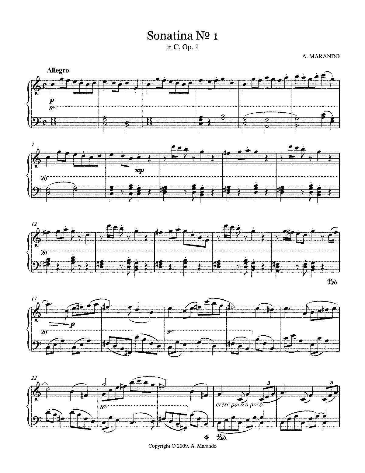 Sonatina No 1, Op 1 (Marando, A ) - IMSLP/Petrucci Music Library