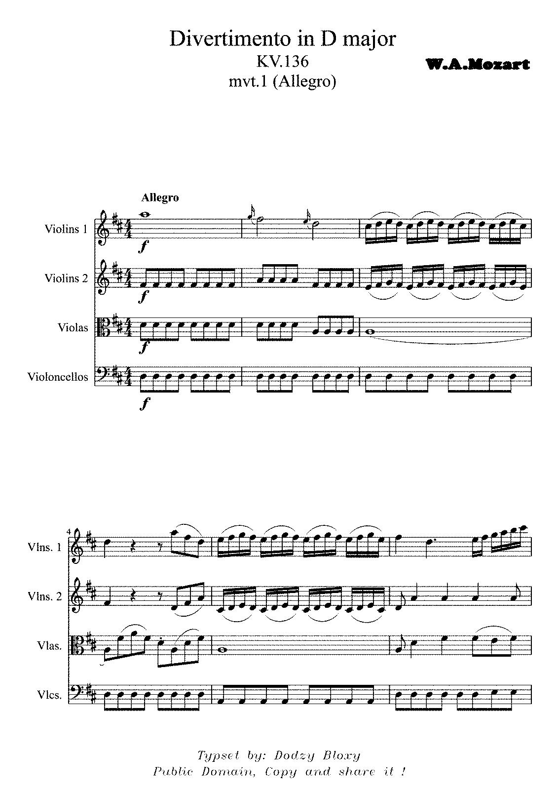 Divertimento in D major, K 136/125a (Mozart, Wolfgang