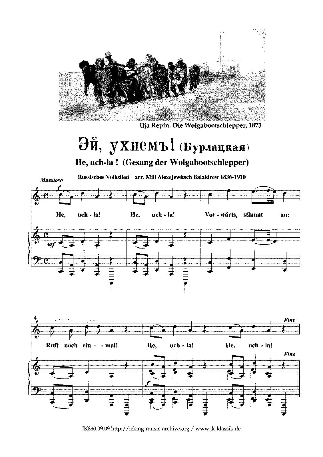 kalinka text noten